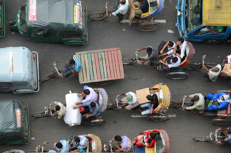 Rickshaws in a traffic jam in Dhaka