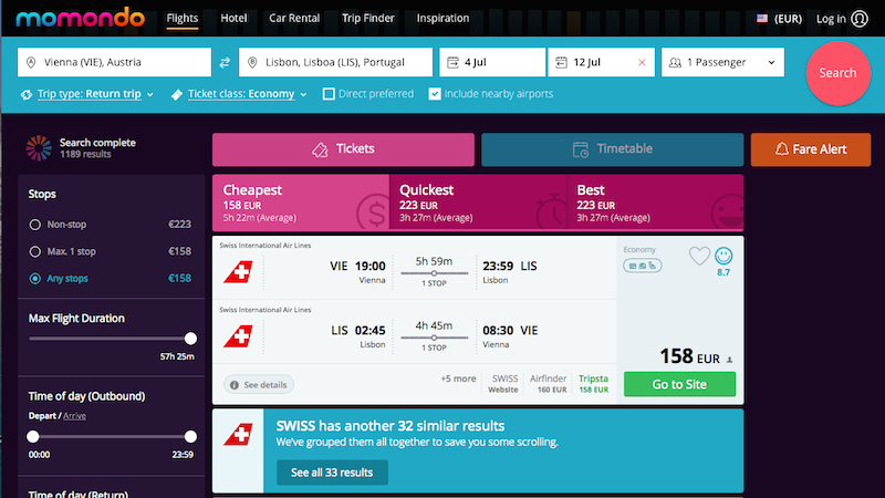 Plane ticket search page