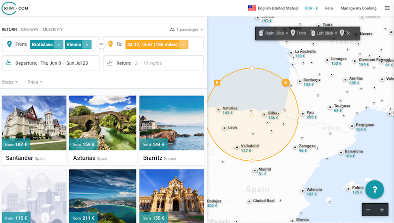 Low-cost airline ticket search